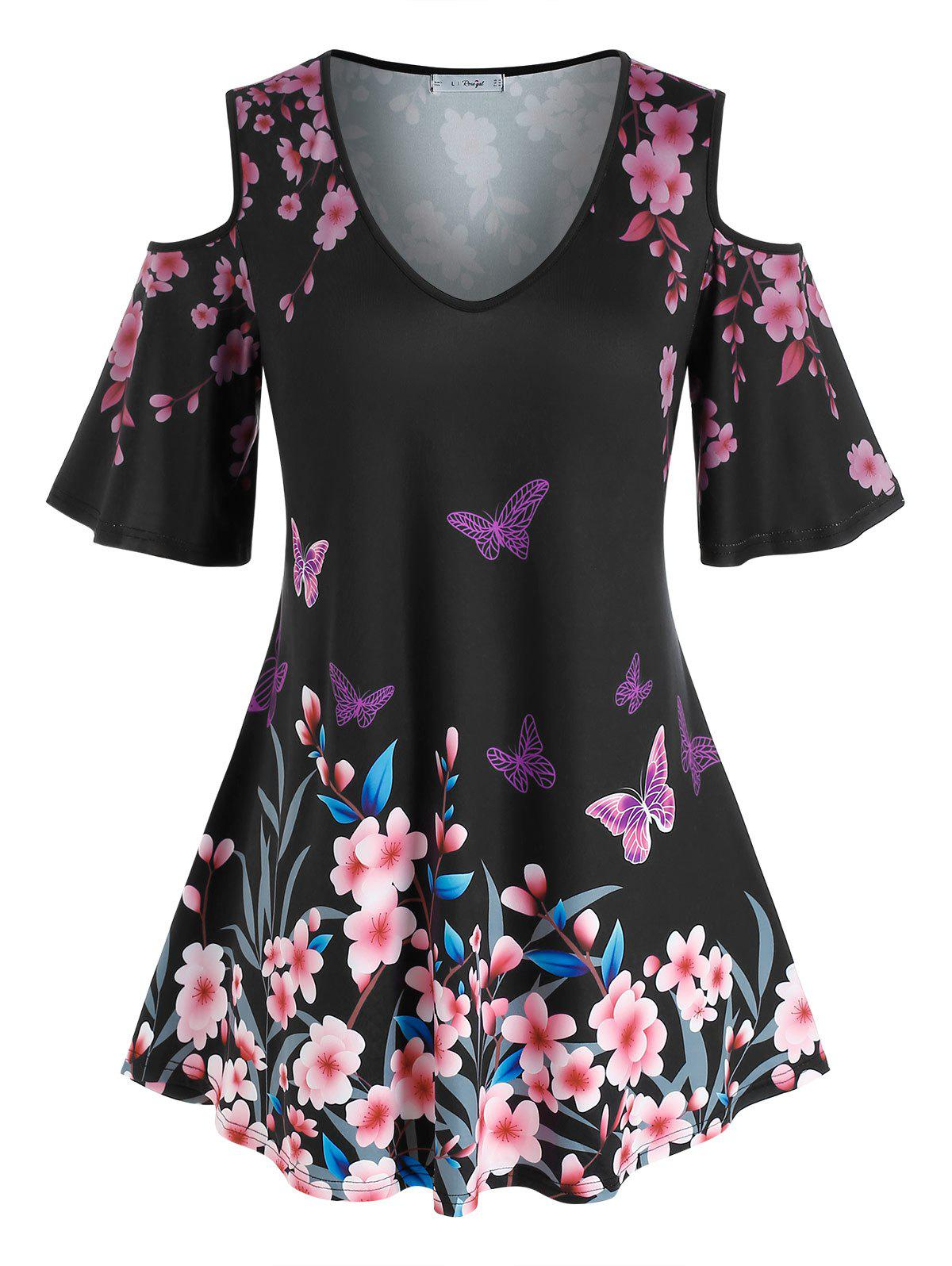 Buy Plus Size Flower Butterfly Cold Shoulder Tunic Tee
