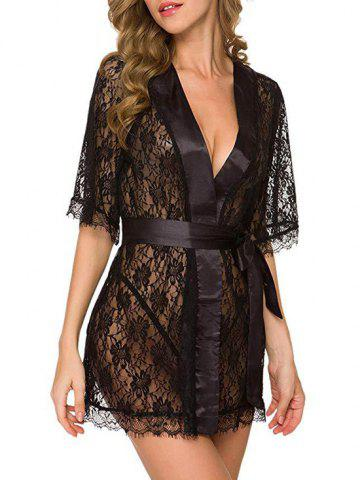 Belted Eyelash Lace Robe With T-back - BLACK - XL
