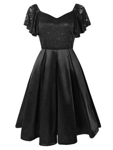 Sweetheart Neck Lace Panel Butterfly Sleeve Dress