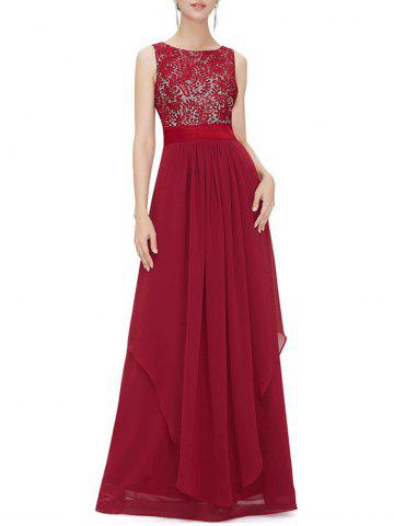 Embroidered Chiffon Panel Overlay Maxi Dress - RED - M