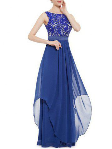 Embroidered Chiffon Panel Overlay Maxi Dress - BLUE - 2XL