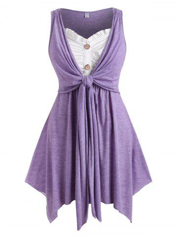Button Front Tie Front Heathered Plus Size Tank Top - PURPLE - 3X