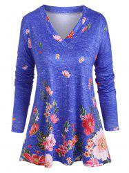 Plus Size V Neck Floral Print T Shirt -