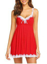 Scalloped Lace Trim Bowknot Babydoll with T-back -
