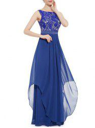 Embroidered Chiffon Panel Overlay Maxi Dress -