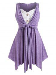 Button Front Tie Front Heathered Plus Size Tank Top -