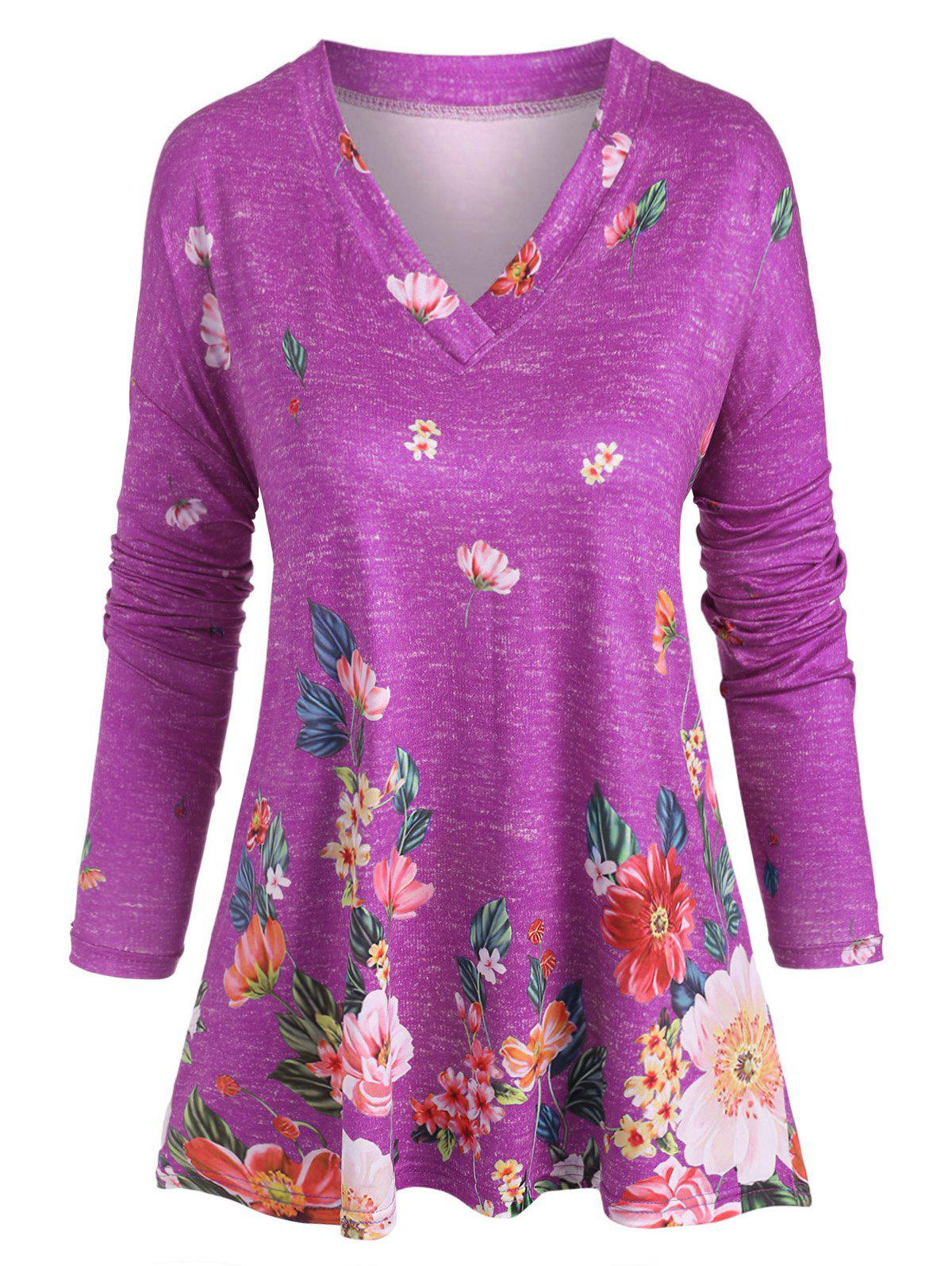 Outfits Plus Size V Neck Floral Print T Shirt