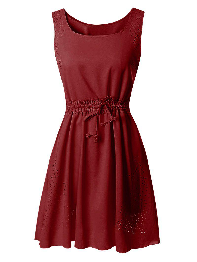 Buy Laser Cut Drawstring Waist Sleeveless Dress