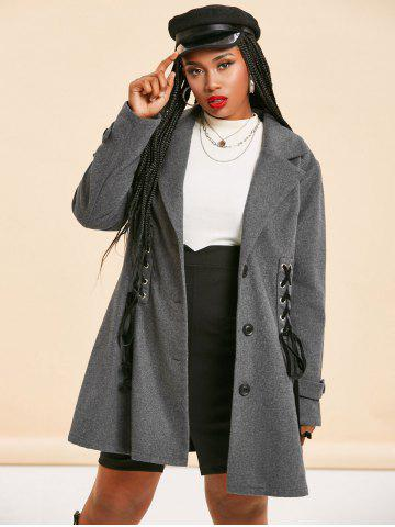 Plus Size Dual Lace-up Single Breasted Tunic Coat