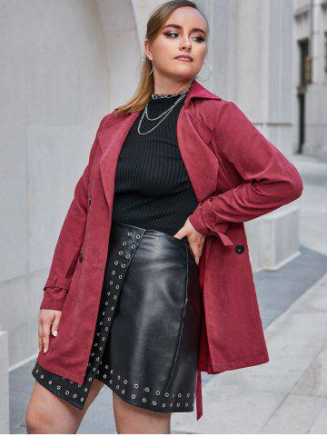 Plus Size Double Breasted Belted Cuff Trench Tunic Coat