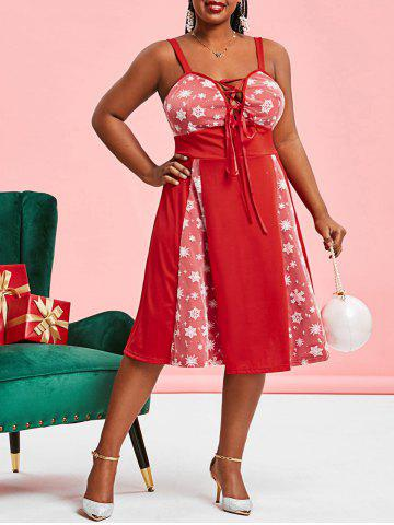 Christmas Snowflake Mesh Panel Lace Up Plus Size Dress - RED - 3X