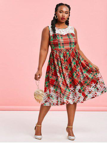 Plus Size Christmas Plaid Snowflake Print Dress