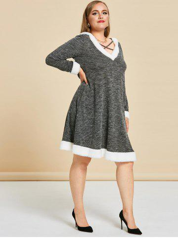 Plus Size Hooded Cat Ear Marled Faux Fur Panel Knit Dress