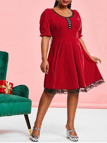 Plus Size Velvet Hook and Eye Lace Panel A Line Dress - RED - 3X