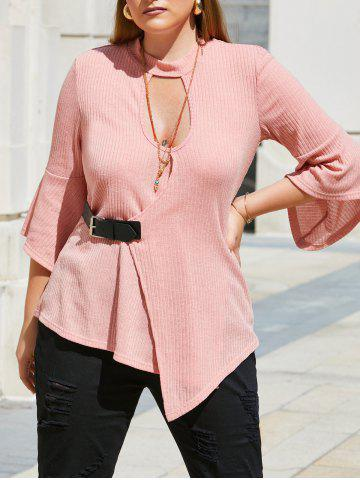 Buckled Front Ribbed Keyhole Cut Out Plus Size Knitwear - LIGHT PINK - 2X