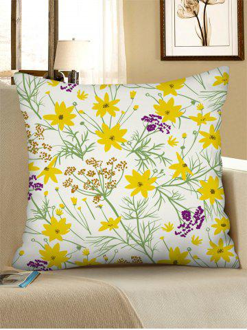 Flower Printed Linen Square Pillowcase - RUBBER DUCKY YELLOW - W18 X L18 INCH