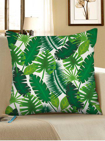 Printed Tropical Leaves Linen Square Pillowcase - MEDIUM SPRING GREEN - W18 X L18 INCH