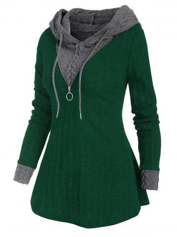 Colorblock Zip Embellished Hooded Sweater - DEEP GREEN - M