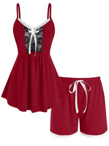 Plus Size Lace Panel Tie Bowknot Cami Pajamas Set - RED - 4X