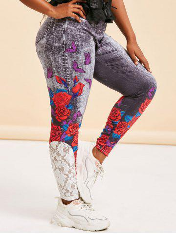 Lace Panel 3D Print Rose Butterfly Plus Size Jeggings