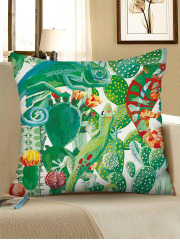 Cactus Lizard Print Linen Square Pillowcase - SHAMROCK GREEN - W18 X L18 INCH