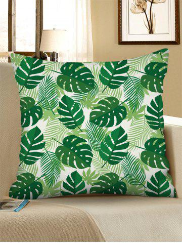 Tropical Leaf Printed Linen Square Pillowcase