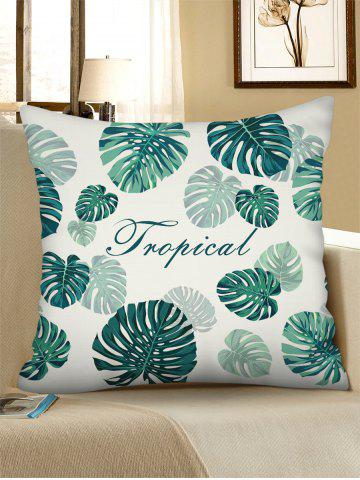 Tropical Leaves Pattern Square Linen Pillowcase - LIGHT SEA GREEN - W18 X L18 INCH