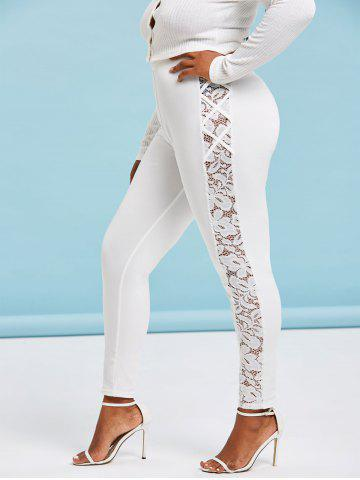 Plus Size Lace Insert High Waisted Leggings - WHITE - L