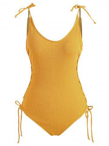 Lace Up Tie Shoulder Ribbed One-piece  Swimsuit - DEEP YELLOW - XL