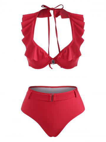 Halter Ruffle Monowire Belted High Waisted Bikini Swimwear - RED - L
