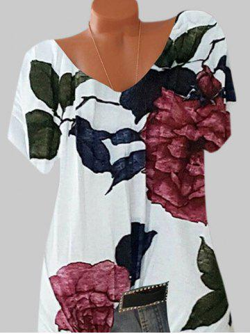 Plus Size Batwing Sleeve Floral Print Tee - WHITE - 4XL