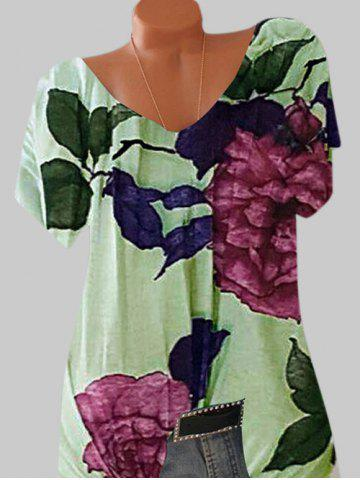 Plus Size Batwing Sleeve Floral Print Tee - LIGHT GREEN - 3XL