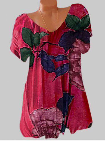 Plus Size Batwing Sleeve Floral Print Tee - RED - 5XL