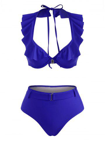 Halter Ruffle Monowire Belted High Waisted Bikini Swimwear - BLUE - XL
