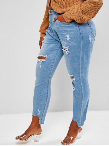 Plus Size Stepped Hem Distressed Jeans