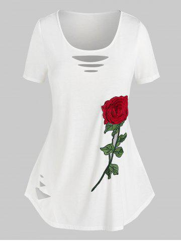 Plus Size Flower Embroidered Ripped Short Sleeve Tee - WHITE - L
