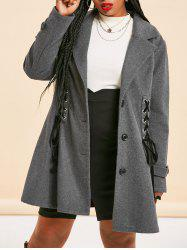 Plus Size Dual Lace-up Single Breasted Tunic Coat -