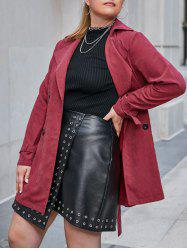 Plus Size Double Breasted Belted Cuff Trench Tunic Coat -