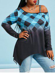 Plaid Sparkle Strap Cold Shoulder Plus Size Top -