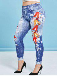 Plus Size High Rise Christmas Bells Print Jeggings -