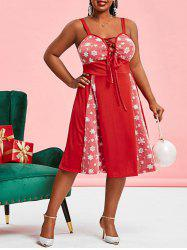 Christmas Snowflake Mesh Panel Lace Up Plus Size Dress -
