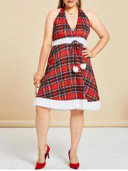 Plus Size Faux Fur Insert Halter Plaid Dress -
