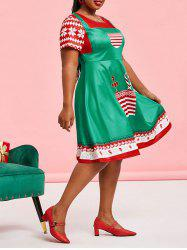 Plus Size Christmas 3D Print Fit and Flare Dress -