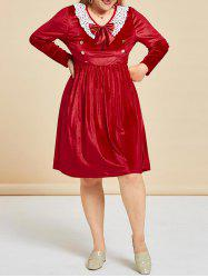 Plus Size Velvet Lace Panel Bowknot Dress -