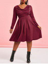 Plus Size Cowl Neck Knee Length Dress -