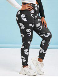 Plus Size High Waist Panda Print Fitted Leggings -
