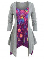 Plus Size Snowflake Geometric Handkerchief Draped Twofer Tee -