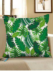 Printed Tropical Leaves Linen Square Pillowcase -