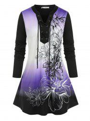 Plus Size Lace-up Flower Ombre V Notch Tunic Tee -