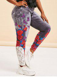 Lace Panel 3D Print Rose Butterfly Plus Size Jeggings -